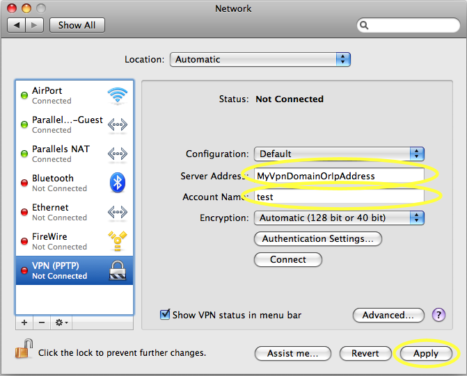 vpn mac configuration